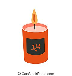 Flat cartoon vector illustration with candle, hand drawn style, isolated on white.