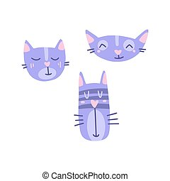 Flat cartoon vector illustration with cute muzzles of cats, hand drawn style.