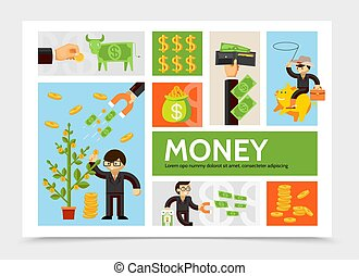 Flat Cash And Currency Infographic Template