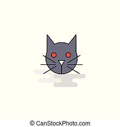 Flat Cat Icon. Vector