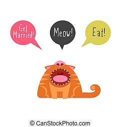 Flat cat with speech bubbles