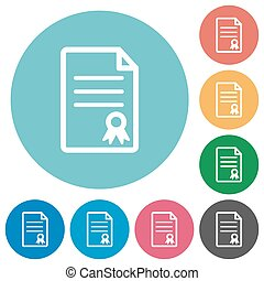Flat certificate document icons
