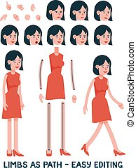 Flat character is a woman in a red dress