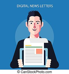 Flat character of digital news letters concept illustrations
