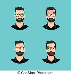 Flat Character Set Bread Man Vector