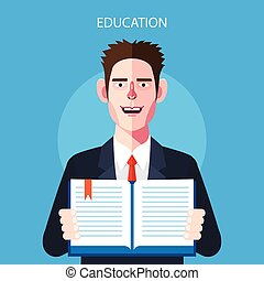Flat characters of education concept illustrations