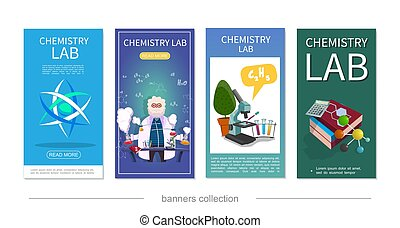 Flat Chemistry Lab Vertical Banners