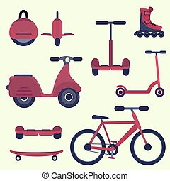 Flat cherry red fashion youth city transport set