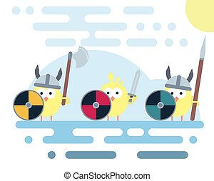 Flat chicken characters stylized as a vikings warriors with weapons.