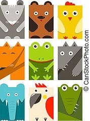 Flat Childish Rectangular Animals Set