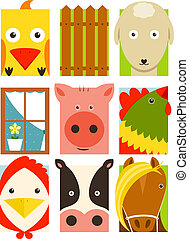Flat Childish Rectangular Cattle Farm Animals Set - Animals...