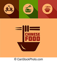 flat chinese food design elements