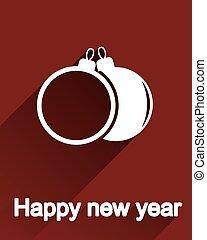 Flat christmas balls postcard, icon or label design