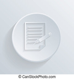 flat circle icon with a shadow, sheet of paper