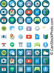 Flat Circle Square Android Icons
