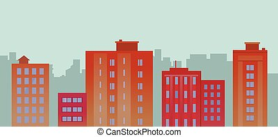 Flat City Buildings On Blue Background