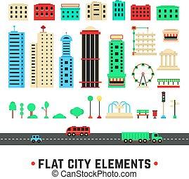 flat city elements on white background