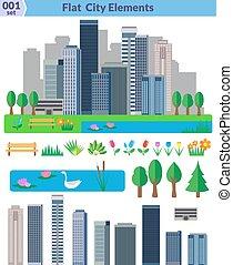 Flat city elements set. Different elements for construction...
