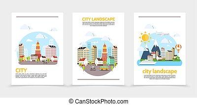 Flat City Landscape Vertical Banners