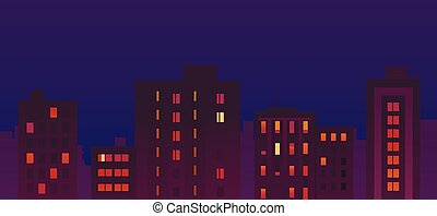 Flat City Night Buildings