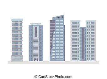 Flat City Skyscraper Business Buildings
