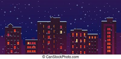 Flat City Snow Night Buildings