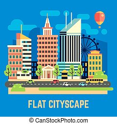 Flat city, urban landscape vector illustration. Town with...
