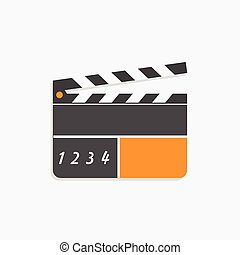 Flat Clapper Icon Modern Style Isolated on White