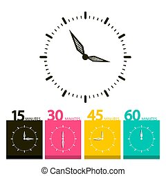 Flat Clock Symbol. Vector Time Icons with 15, 30, 45 and 60 Minutes Symbols.
