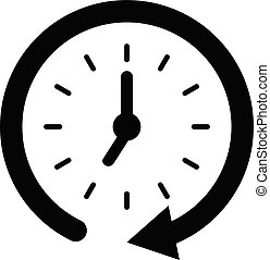 Flat clock vector icon for graphic design, logo, web site, social media, mobile app, illustration
