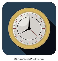 Flat clock watch icon