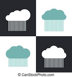 Flat cloud icons with rain on white and dark background