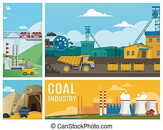 Flat Coal Industry Colorful Composition