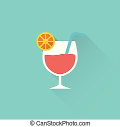 flat cocktail icon on blue background