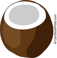 Flat coconut, illustration, vector on white background.