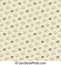 Flat coffee cup and mug seamless pattern for cafe, shop