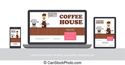 Flat Coffee House Concept