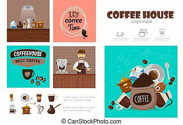 Flat Coffee Shop Infographic Concept