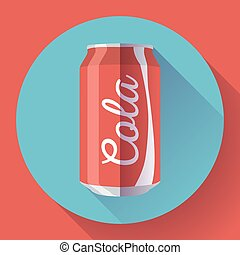 Flat cola can soda can vector illustration Cola can vector icon