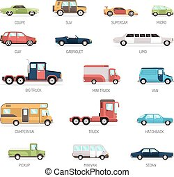 Flat Collection Of Different Car Models - Colorful flat...