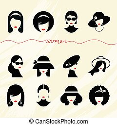 Flat collection of icons of various women with stylish hairstyles in hats and without.