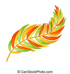 Flat color abstract leaf silhouette on white background