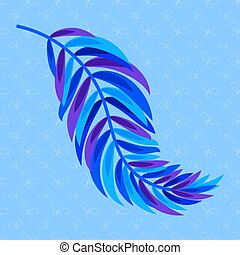 Flat color abstract silhouette of a leaf on blue background