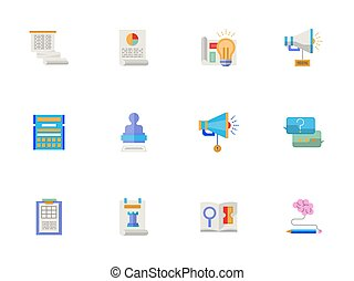 Flat color account planning vector icons set