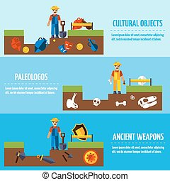 Flat Color  Archeology Banners Set