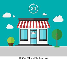 Flat color background - shop building.
