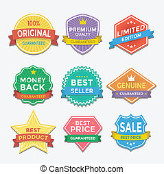 Flat color badges and labels