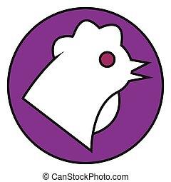 Flat color chicken icon