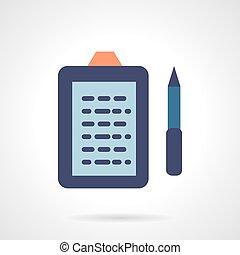 Flat color e-book reader vector icon.