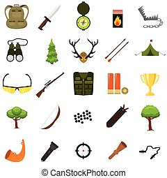 Flat color hunting icons set. Isolated vector illustration. Cartoon style.